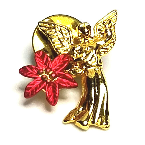 Designer by provenance, tie tack or pin, angel motif, gold tone, 7/8 x 1 inch.