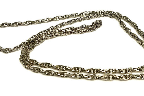 Designer by provenance, necklace, rope chain, silver tone, 24 inches.