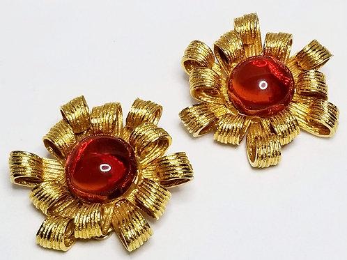 Designer by Les Bernard, earrings, clip on orange and gold tone flower motif.