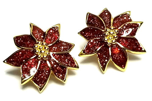 Designer by provenance, earrings, clip on, poinsettia motif, red, gold tone.