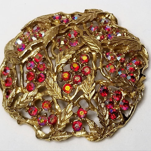 Designer by Sarah Coventry, brooch, pink rhinestones, leaf motif.