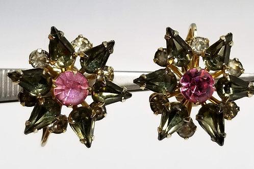 Designer by Hattie Carnegie, earrings, clip on pink and brown rhinestone flowers