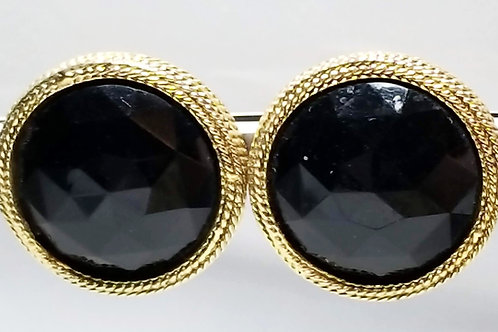 Designer by Les Bernard, earrings, black glass round cabochons in gold to