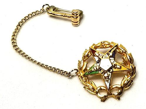 Designer by provenance, pin, Masonic motif, multi color, gold tone/10K gold.