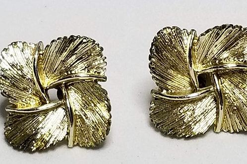 Designer by Lisner, earrings, screw back gold tone leaves.