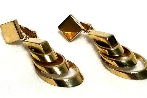 Designer by Crown Trifari, earrings, clip on dangles, gold tone pot metal.