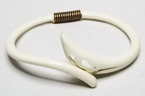 Designer by Eisenberg, bangle, hinged white spring bangle with gold tone.