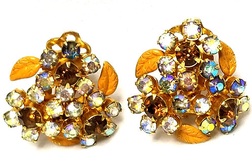 Designer by Weiss, earrings, clip on, flower motif, multi color rhinestones.