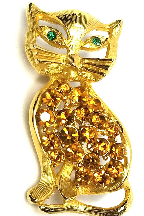 Designer by provenance, brooch, cat motif, brown and green stones, gold tone.