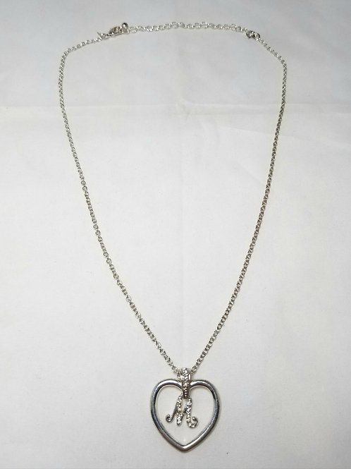 """Avon necklace, silver tone heart with initial """"M"""" with crystals, 21""""."""