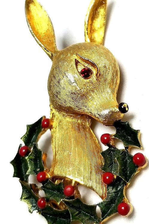 Designer by provenance, brooch, Christmas deer motif, multi color, gold tone.