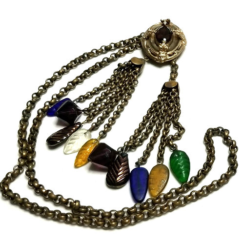 Designer by provenance, necklace, multi color stones and beads, gold tone, 34 in