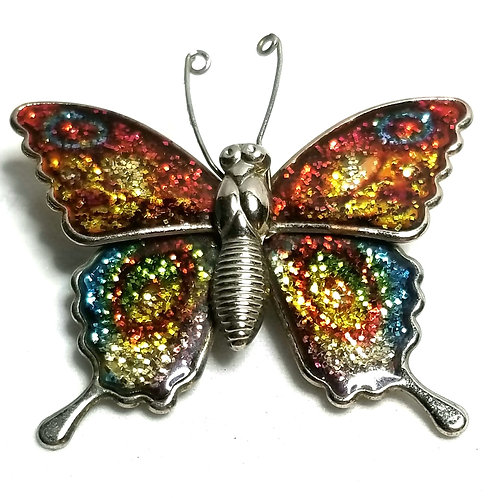 Designer by provenance, brooch, butterfly motif, multi color, silver tone.