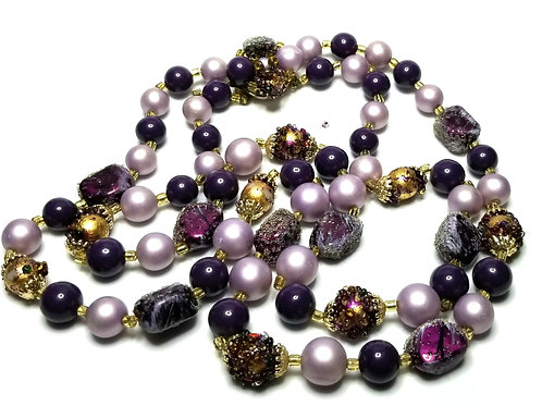 Designer by provenance, necklace, double strand, purple and gold tone beads.