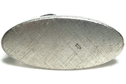 Designer by Swank, tie clip, oval brushed silver tone, 1/2 x 1 inch.