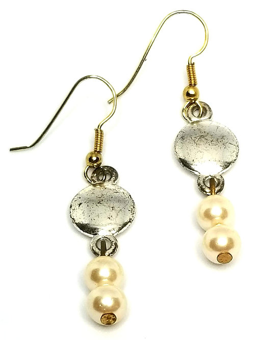 Designer by provenance, earrings, pierced wire dangles, white faux pearls.