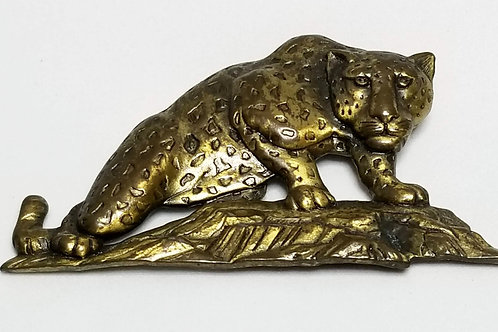 Designer by J.J., brooch, wild cat motif, gold tone pot metal.