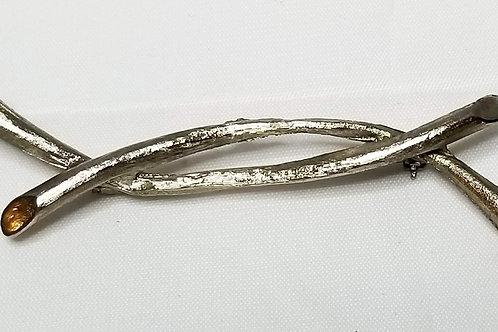 Designer by Judy Lee, brooch, silver tone branch motif.