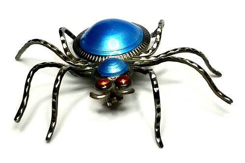 Designer by provenance, brooch, spider motif, blue and red stones, 925 silver.