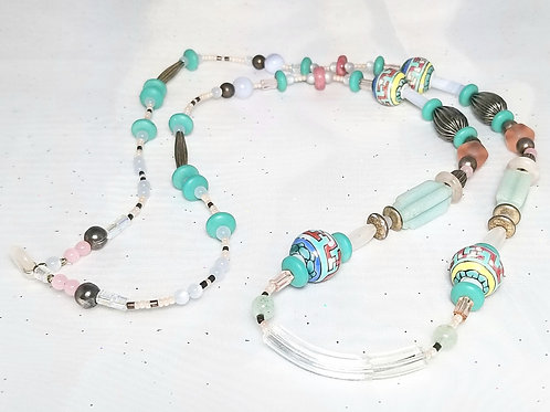 Designer by provenance, neck wear, beaded necklace, multi-color 32 inch
