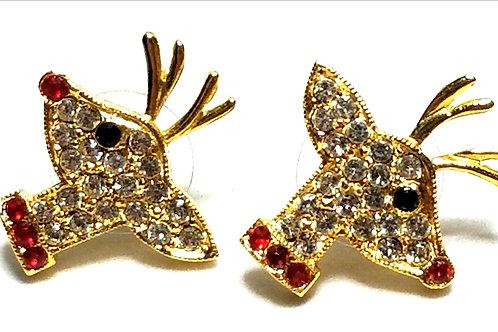 Designer by provenance, earrings, posts, reindeer motif, red/clear rhinestones.