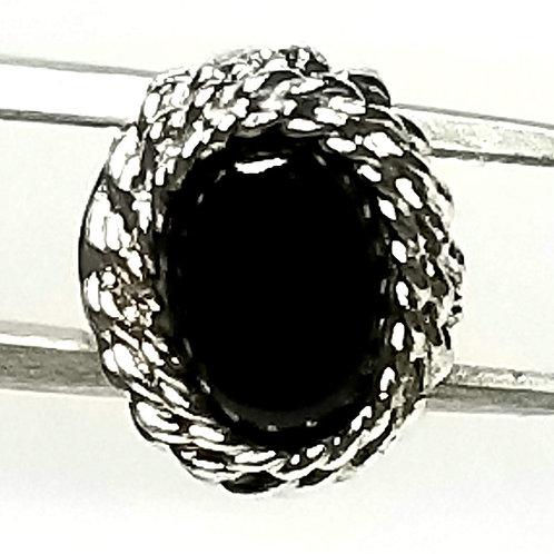 Designer by Provenance, tie tack, black oval stone in silver tone.