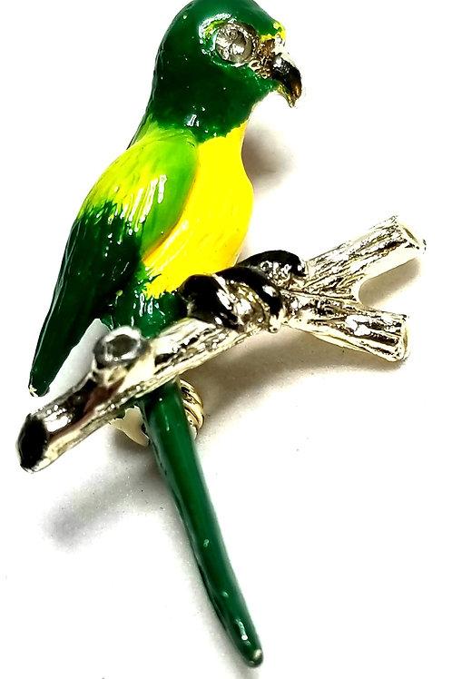 Designer by provenance, brooch, parrot motif, multi color, silver tone.