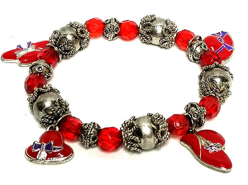 Designer by Red Hat Society, bracelet, stretch, red enamel charms, red beads.