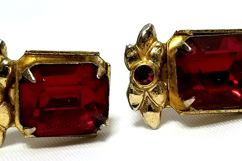 Designer by Coro, earrings, screw back red octagonal faceted stones, gold tone.