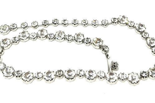 Designer by Weiss, necklace, choker, clear rhinestones in silver tone.