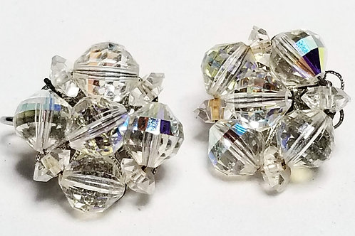 Designer by Laguna, earrings, clip on, iridescent faceted beads in silver tone
