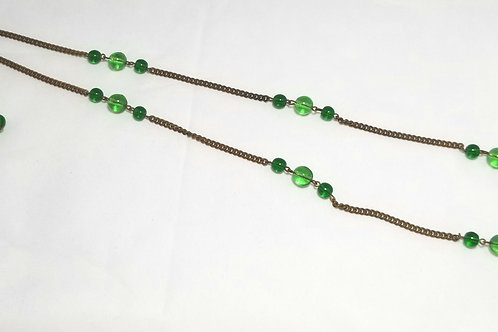 Designer by provenance Bolo necklace, green beads with metal chain, 29.5""