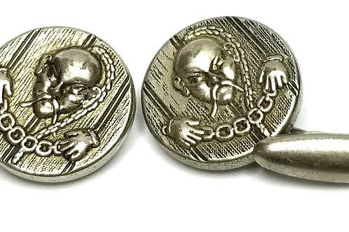 Designer by provenance, cuff links, Dr. Fu Manchu motif, silver tone, 3/4 inch.