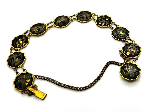 Designer by provenance, bracelet, oriental motif, black and gold tone, 7 inches.
