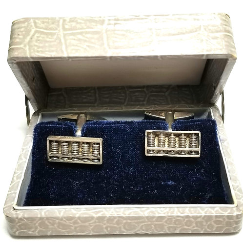 Designer by Provenance, cuff links, abacus motif, silver tone, 3/4 x 3/8 inch.