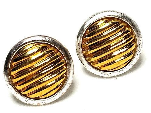 Designer by Napier, earrings, screw back, round gold tone in silver tone, 5/8 in