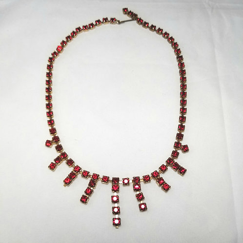 """Designer by provenance necklace, round red crystals, gold tone, 15.5"""""""