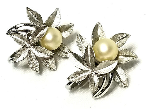 Designer by Crown Trifari, earrings, clip on, maple leaves with faux pearls.