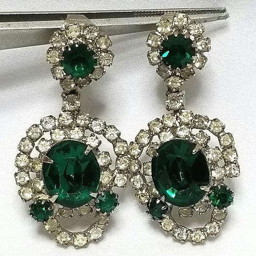 Designer by Kramer, earrings, clip on dangle, green and clear rhinestones.