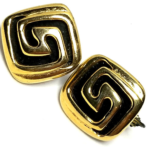 Designer by Napier, earrings, screw back, black and gold tone squares.