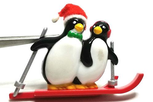 Designer by provenance, brooch, Christmas penguins motif, multi color.