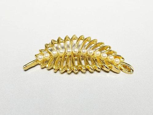 Designer AAI, brooch, white faux pearl gold tone leaf motif