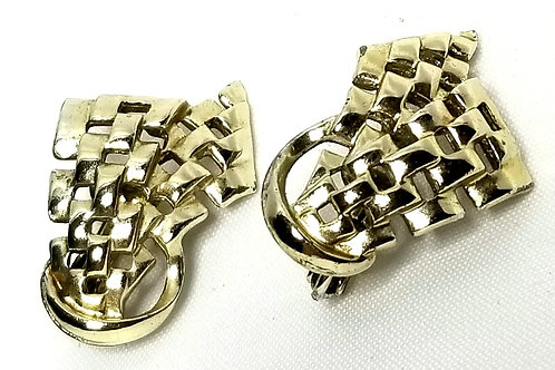 Designer by Coro, earrings, clip on 3/4 x 1 1/4 inches, gold tone.