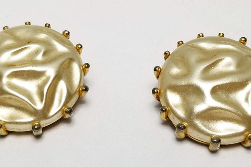 Designer by Schiaparelli, earrings, pearlized cabochons in gold tone pot metal.