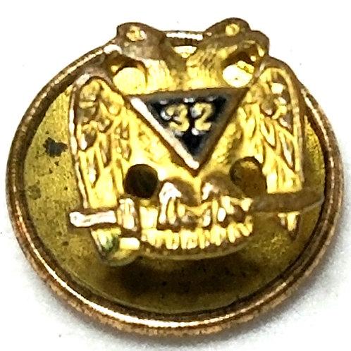 Designer by HO, tie tack, Masonic motif, black in gold tone.