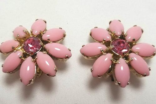 Juliana earrings, clip-on, pink flower, gold tone
