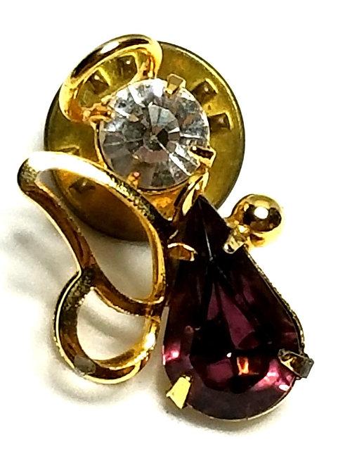 Designer by provenance, pin, angel motif, purple stone, rhinestone, gold tone.