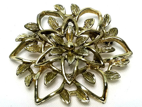 Designer by Sarah Cov, brooch, flower motif in gold tone.