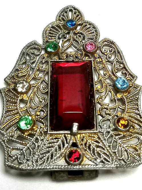 Designer by T&G, fur clip, multi color rhinestones in silver tone.