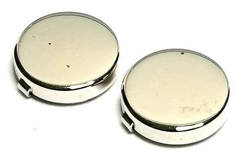 Designer by provenance, button covers, two, round silver tone.